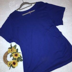 WOMAN WITHIN Sz 2X Royal Blue Perfect Top ~ EUC